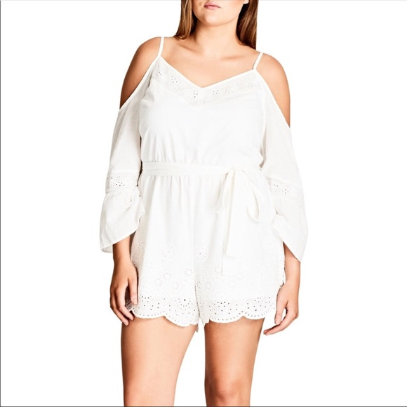 7520a337093 City Chic Pants - NWT City Chic Innocence Playsuit Romper White 0472
